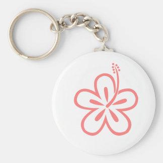pink hibiscus flower keychain
