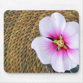 Pink Hibiscus Flower Mouse Pad