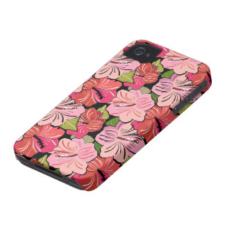 Pink Hibiscus Flower Pattern iPhone 4 Cover