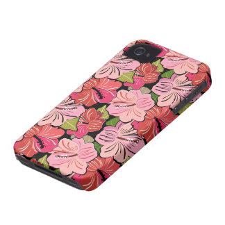 Pink Hibiscus Flower Pattern iPhone 4 Case