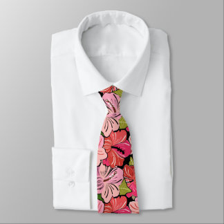 Pink Hibiscus Flower Pattern Tie