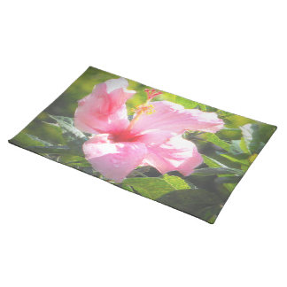 Pink Hibiscus Flower Placemats