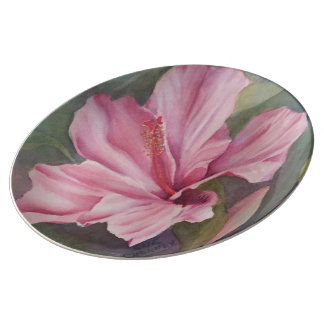 PINK HIBISCUS FLOWER PORCELAIN WALL PLATE