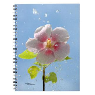 Pink Hibiscus Flower Raindrops Notebook