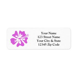 Pink hibiscus flower return address labels