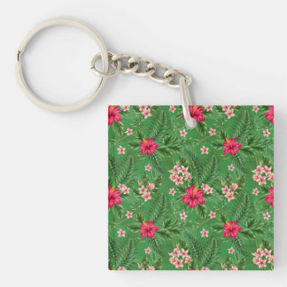 Pink Hibiscus Flowers and Leaves Keychain
