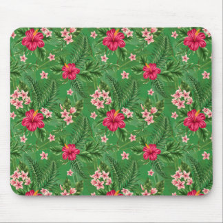 Pink Hibiscus Flowers and Leaves Mouse Pad