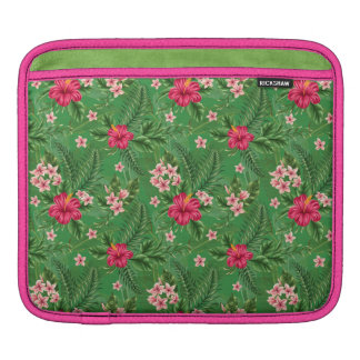 Pink Hibiscus Flowers and Leaves Sleeve For iPads