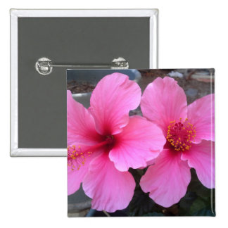 Pink Hibiscus Flowers Pinback Buttons