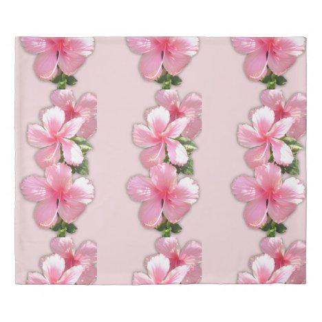 Pink Hibiscus Flowers Duvet