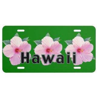Pink Hibiscus Flowers, Hawaii License Plate
