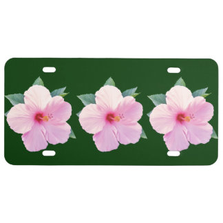 Pink Hibiscus Flowers License Plate