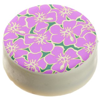 Pink Hibiscus Flowers Tropical Hawaiian Luau Chocolate Covered Oreo