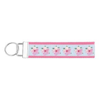 Pink Hibiscus Flowers Wrist Keychain