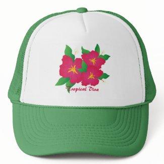 Pink hibiscus hat