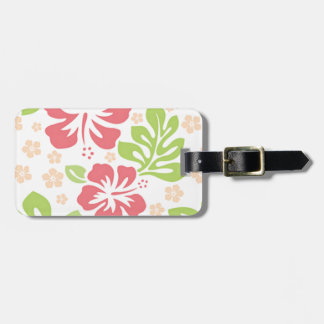 pink hibiscus Hawaiian floral pattern Tag For Luggage
