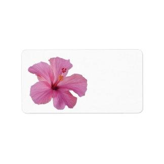 Pink Hibiscus Hawaiian Flower Customized Template Label