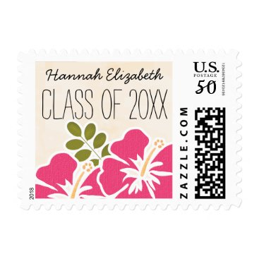 Beach Themed Pink Hibiscus Hawaiian Graduation Class of Postage