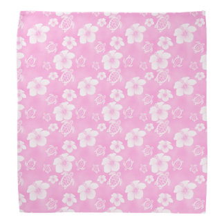 Pink Hibiscus Honu Hawaiian Pattern Bandana