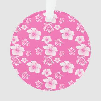 Pink Hibiscus Honu Hawaiian Pattern Ornament