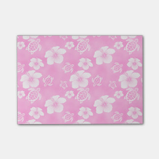Pink Hibiscus Honu Hawaiian Pattern Post-it Notes