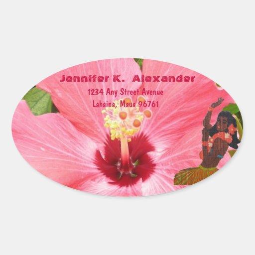 Pink Hibiscus Hula Dance address label Oval Sticker