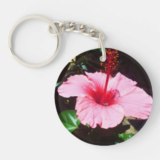 Pink Hibiscus In The Sun Acrylic Keychain