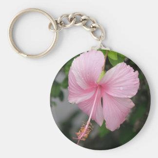 Pink Hibiscus Keychain