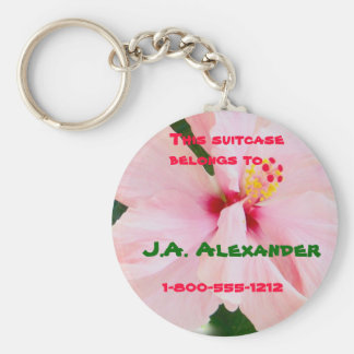 Pink Hibiscus Luggage Tag Basic Round Button Keychain
