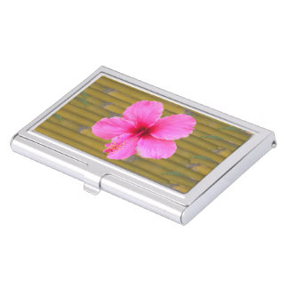 Pink Hibiscus on Bamboo Business Card Holder