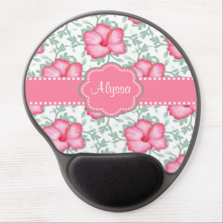 Pink Hibiscus Personalized Gel Mouse Pad