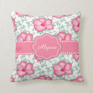 Pink Hibiscus Personalized Throw Pillows