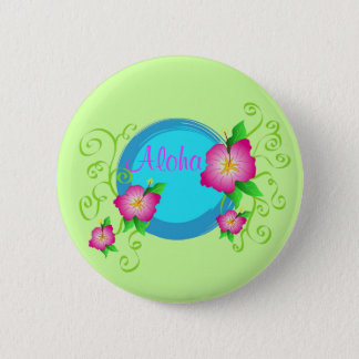 Pink hibiscus - Pin button