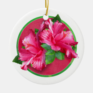 Pink Hibiscus Queen Circle Ornament