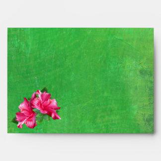 Pink Hibiscus Queen Green A7 Envelopes