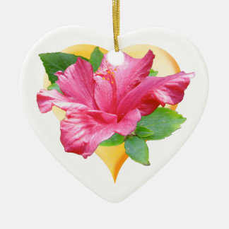 Pink Hibiscus Queen Heart Ornament