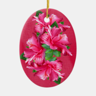 Pink Hibiscus Queen Oval Ornament