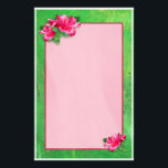 """Pink Hibiscus Queen Stationery<br><div class=""""desc"""">Pretty bright pink Hibiscus flowers add a tropical flair to stationary.  Stylish and cool design.  You might enjoy using matching envelopes and stamps.  Unique gift for the flower lover.  Original photography and design by Anura Design Studio.</div>"""