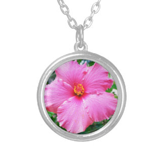Pink Hibiscus Rain Sprinkles, Silver Plated Necklace