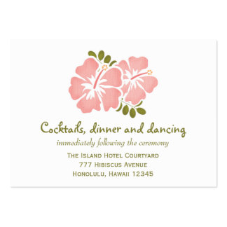 Pink Hibiscus Reception Enclosure Cards Large Business Card