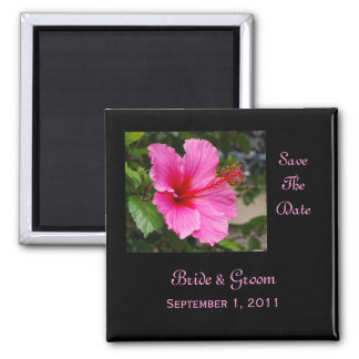 Pink Hibiscus Save The Date Magnet