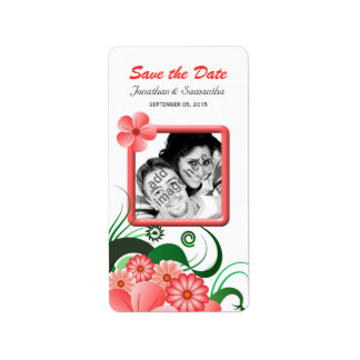 Pink Hibiscus Small Save The Date Wine Labels