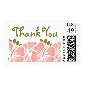 Pink Hibiscus Thank You Postage Stamps