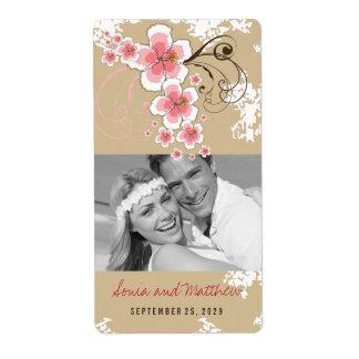 Pink Hibiscus Tropical Beach Wedding Wine Labels