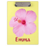 Pink Hibiscus Tropical Flower Clipboard