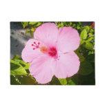 Pink Hibiscus Tropical Flower Doormat