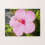 Pink Hibiscus Tropical Flower Jigsaw Puzzle