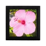 Pink Hibiscus Tropical Flower Keepsake Box