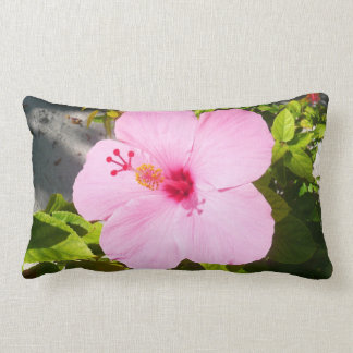 Pink Hibiscus Tropical Flower Lumbar Pillow