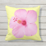 Pink Hibiscus Tropical Flower Outdoor Outdoor Pillow